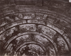 Close view of portion of the ceiling inside the great temple at Mynal